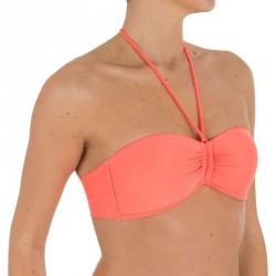 Haut de maillot de bain femme bandeau avec coques fixes LAETI FLUO GRANATINA