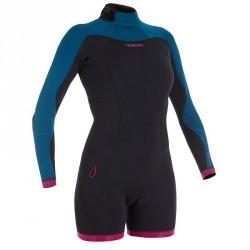 Combinaison SURF shorty 500 Néoprène Manches Longues Femme bleu rose