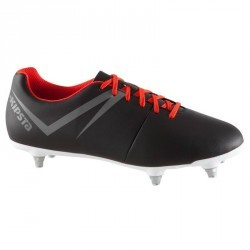 Chaussure football adulte terrain gras First SG noir rouge blanc