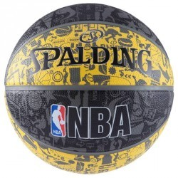 Ballon Basketball NBA Graffiti noir jaune T7