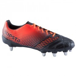 Chaussure rugby 8 crampons adulte terrains gras Density 700 SG noir rouge