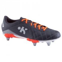 Chaussure rugby enfant terrains gras Agility 500 SG gris orange blanc