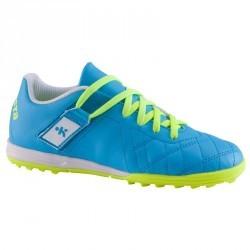 Chaussure de football enfant terrains durs Agility 500 HG scratch bleue jaune