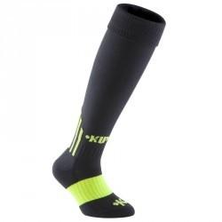 Chaussettes hautes de football enfant F500 noires vertes