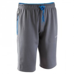 Short long d'entraînement de football adulte T500 gris bleu