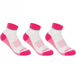 CHAUSSETTES DE SPORT MI-HAUTES JUNIOR ARTENGO RS 500 BLANC ROSE LOT DE 3