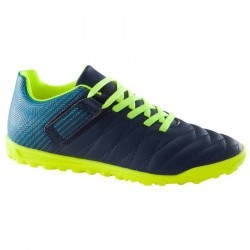 Chaussure de football enfant terrains durs CLR 500 HG à scratch bleue jaune