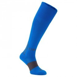 Chaussettes hautes de football adulte F500 bleues grises