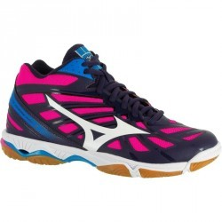 Chaussures de volley-ball femme Mizuno Wave Hurricane bleues blanches et roses
