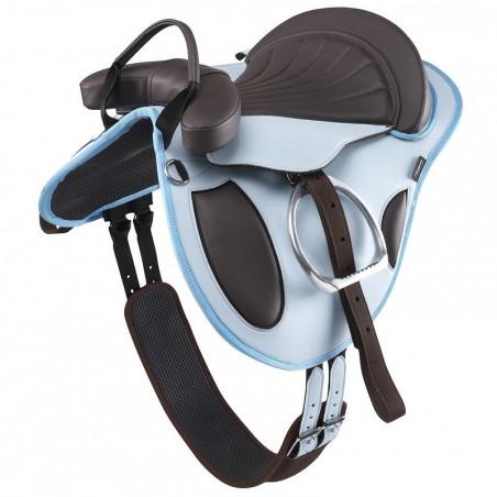 Bardette équitation synthétique équipée poney INITIATION bleu ciel et marron