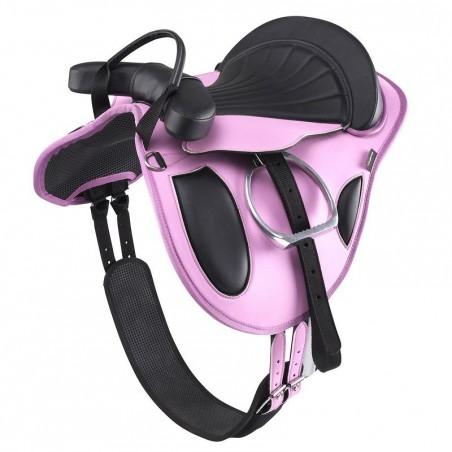Bardette équitation poney synthétique équipée INITIATION rose et noir
