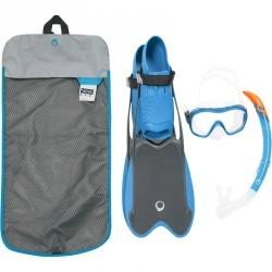 Kit de snorkeling palmes masque tuba R'gomoove adulte gris bleu