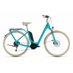 Vélo de Ville Électrique Cube Elly Ride Hybrid 400 EE Shimano Alivio 9V Bleu / Beige / Orange 2018