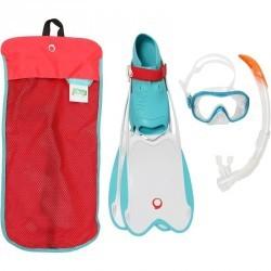 Kit de snorkeling palmes masque tuba R'gomoove blanc turquoise