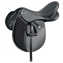 """Selle mixte équitation synthétique équipée poney SYNTHIA noir 16""""5"""