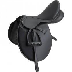 """Selle mixte équitation synthétique équipée cheval SYNTHIA  noir 17""""5"""