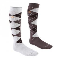 Chaussettes équitation adulte LOSANGES gris et noir X 2 paires