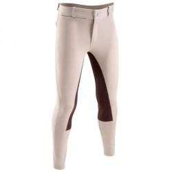 Pantalon équitation enfant FULLSEAT beige et marron