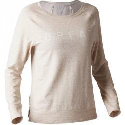 T-shirt 500 manches longues Gym Stretching femme beige chiné print