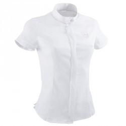Chemise manches courtes équitation femme Concours blanc broderie argent