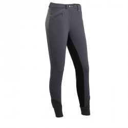 Pantalon fond de peau équitation femme PERFORMER 300 gris/noir