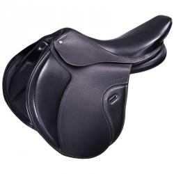 """Selle équitation cheval mixte en cuir à arçon réglable PADDOCK noir 17""""5"""