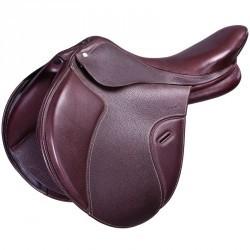 """Selle équitation cheval mixte en cuir à arçon réglable PADDOCK marron 17""""5"""