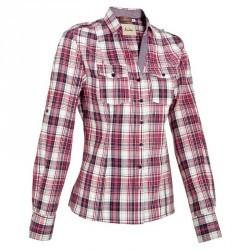 Chemise manches longues équitation femme SENTIER carreaux rose et blanc