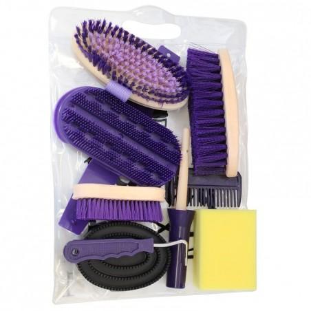 Kit de pansage équitation 9 pièces adulte violet