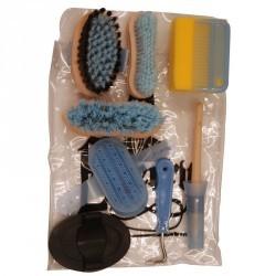 Kit de pansage 9 pièces enfant équitation bleu ciel et noir