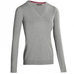 PULL GOLF FEMME 500 GRIS CLAIR CHINE