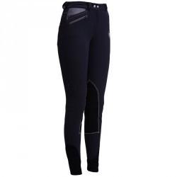 Pantalon chaud équitation femme PERFORMER 500 gris poches tissu chevron