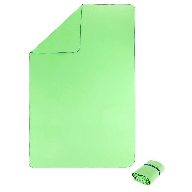 Serviette microfibre verte fluo ultra compacte taille XL 110 x 175 cm