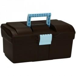 Mallette de pansage équitation GB300 marron et bleu ciel