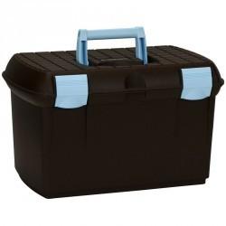 Mallette de pansage équitation GB 500 marron et bleu ciel