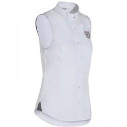 Chemisette équitation femme CONCOURS blanc/chevrons gris