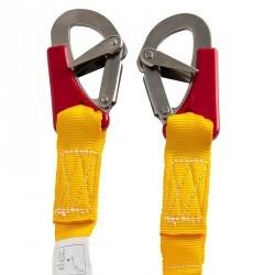Longe simple élastique 2 mousquetons double sécurité bateau jaune