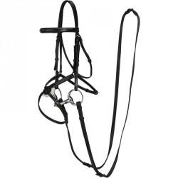 Filet + rênes équitation PADDOCK noir -  cheval