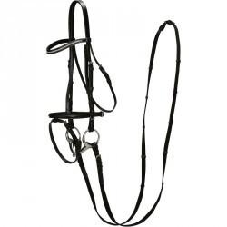 Filet + rênes équitation STRASS noir -  cheval