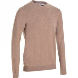 PULL DE GOLF HOMME 520 COL ROND MARRON CHINE