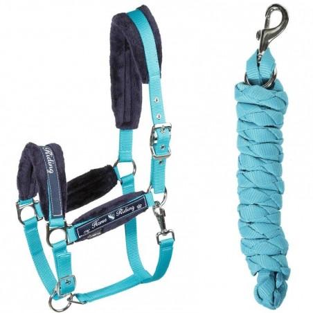 Licol + longe équitation poney et cheval WINNER bleu turquoise