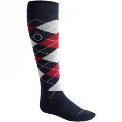 Chaussettes équitation adulte LOSANGES marine rouge et gris chiné X 2 paires