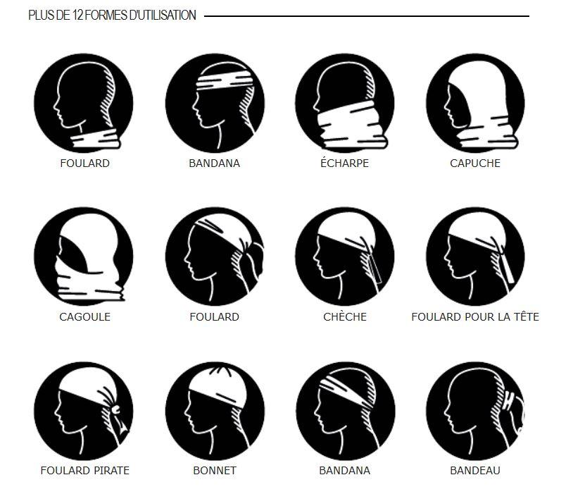 12 usages possibles pour le tour de cou multifonctions